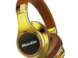 Casti Bluedio UFO, Bluetooth, 8 difuzoare PPS, Wireless, microfon incorporat, 3D, auriu