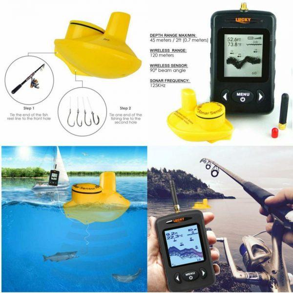Sonar pescuit portabil wireless, Fish Finder, Lucky, localizare pesti, adancime apa, configuratie contur substrat acvatic 5