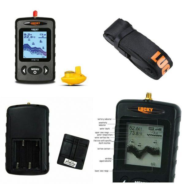 Sonar pescuit portabil wireless, Fish Finder, Lucky, localizare pesti, adancime apa, configuratie contur substrat acvatic