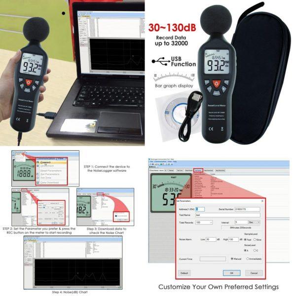 Sonometru (fonometru) digital profesional acustic pentru masurarea nivelului de sunet (zgomot) in decibeli, 30-130 Db, SLM-25, CD cu soft inclus 3