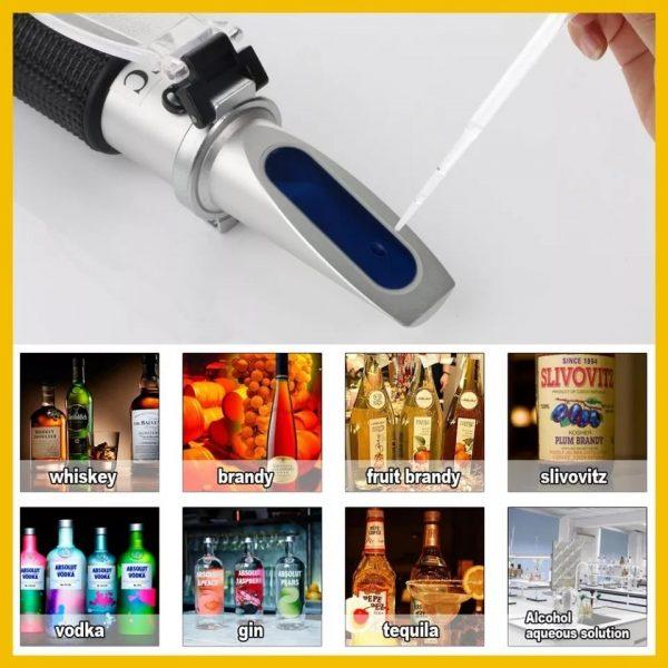Refractometru (alcoolmetru) portabil pentru masurarea procentelor de volum de alcool 0-80% grade (V/V), pentru bauturi spirtoase si distilate (whisky, brandy, coniac, rachiu, tuica / palinca, vodca, gin, tequila), ATC 2