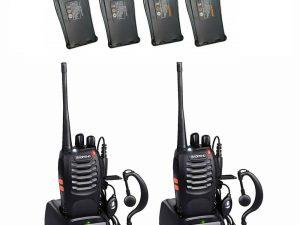 Set 2 Statii radio portabile emisie receptie PROGRAMATE cu 4 acumulatori, Walkie Talkie, Baofeng BF-888S, programate in banda de licenta LIBERA, casca originala Baofeng, husa Talus casti inclusa