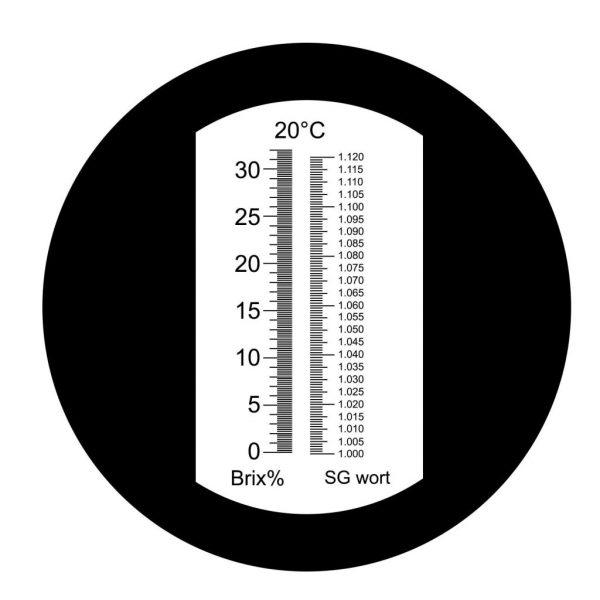 Refractometru (brixmetru) pentru must de bere (borhot) si fructe, masurare procent de zahar, scala duala, Brix 0-32 %, Densitate specifica 1.000-1.120, ATC, lampa USB light led TECKOPLUS™